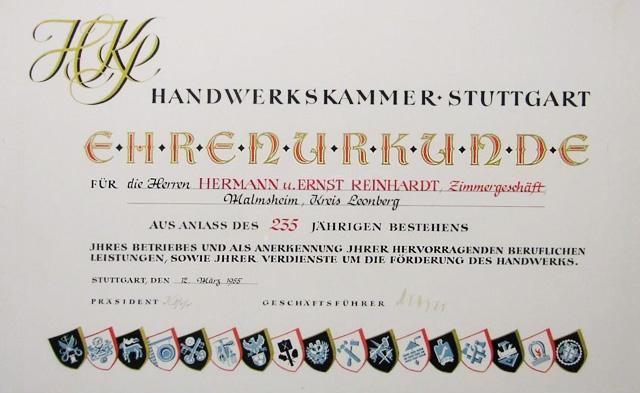 Urkunde der Handwerkskammer Stuttgart